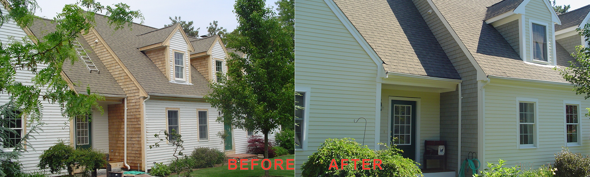 Exterior House Painting = Before and After